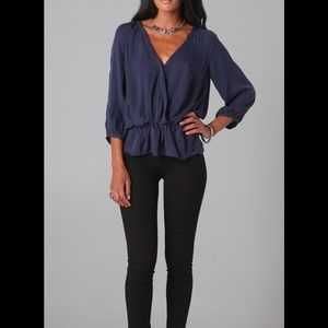 Joie Louvre silk top in dark navy